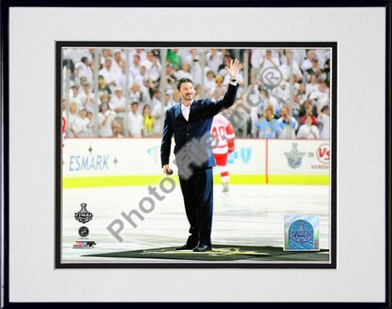 "Mario Lemieux """"Ceremonial Puck Drop Game Three of the 2009 NHL Stanley Cup Finals (#25)"""" Double Matted 8"""" x 10"""" Photograph in Black Anodized Aluminum Frame"" PHF-AALJ245-37"