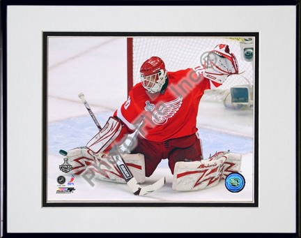 """Chris Osgood """"2009 Stanley Cup / Game 5 (#27)"""" Double Matted 8"""" x 10"""" Photograph in Black Anodized A"""