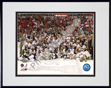 "Pittsburgh Penguins """"Game 7 of the 2008 - 2009 NHL Stanley Cup Finals Celebration on Ice"""" Double Matted 8"""" x 10"""" Photograph in Black Anodized Aluminum Frame"" PHF-AALK051-37"