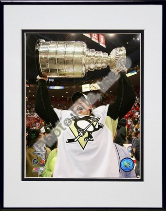 "Evgeni Malkin ""Game 7 of the 2008 - 2009 NHL Stanley Cup Finals with Trophy (#38)"" Double Matted 8"" x 10&"
