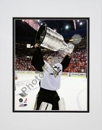 """Marc-Andre Fleury """"Game 7 of the 2008 - 2009 NHL Stanley Cup Finals with Trophy (#39)"""" Double Matted 8"""" x"""