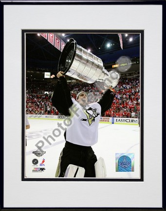 "Marc-Andre Fleury """"Game 7 of the 2008 - 2009 NHL Stanley Cup Finals with Trophy (#39)"""" Double Matted 8"""" x 10"""" Photograph in Black Anodized Aluminum Frame"" PHF-AALK055-37"