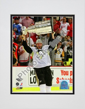 """Jordan Staal """"Game 7 of the 2008 - 2009 NHL Stanley Cup Finals with Trophy (#42)"""" Double Matted 8"""" x 10&q"""