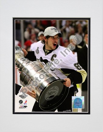 """Sidney Crosby """"Game 7 of the 2008 - 2009 NHL Stanley Cup Finals with Trophy (#46)"""" Double Matted 8"""" x 10&"""
