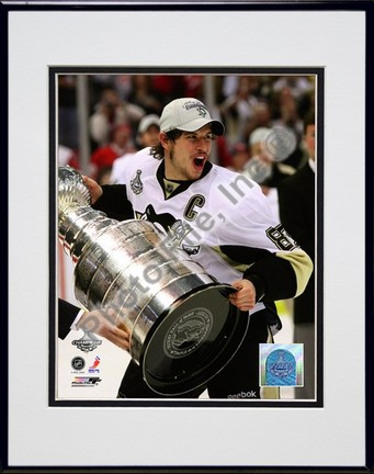 "Sidney Crosby ""Game 7 of the 2008 - 2009 NHL Stanley Cup Finals with Trophy (#46)"" Double Matted 8"" x 10&"