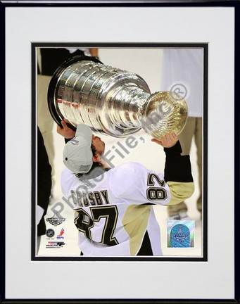"""Sidney Crosby """"Game 7 of the 2008 - 2009 NHL Stanley Cup Finals with Trophy (#48)"""" Double Matted 8"""" x 10&"""