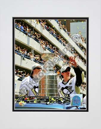 "Marc-Andre Fleury and Sidney Crosby """"2009 Stanley Cup Champions Victory Parade #60"""" Double Matted 8� x 10� Photograph (Unframed)"" PHF-AALK069-33"