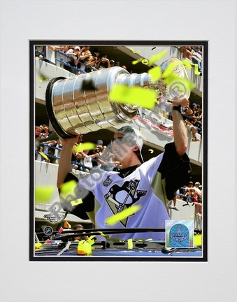 "Marc-Andre Fleury ""2009 Stanley Cup Champions Victory Parade #58"" Double Matted 8"" x 10"" Photograph (Unfra"