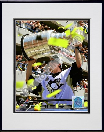 """Marc-Andre Fleury """"2009 Stanley Cup Champions Victory Parade #58"""" Double Matted 8"""" x 10"""" Photograph in Bla"""