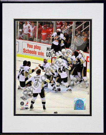 """Pittsburgh Penguins """"Celebration Game 7 of the 2008 - 2009 NHL Stanley Cup Finals Action (#45)"""" Double Matted"""