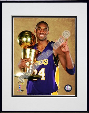 """Kobe Bryant """"Game Five of the 2009 NBA Finals with Championship Trophy (#30)"""" Double Matted 8"""" x 10"""""""