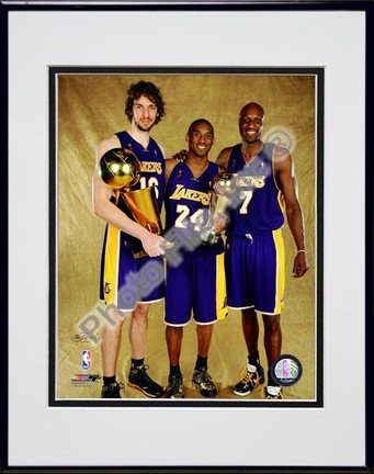 """Pau Gasol, Kobe Bryant, and Lamar Odom """"Game Five of the 2009 NBA Finals with Championship Trophy (#31)"""" Doubl"""