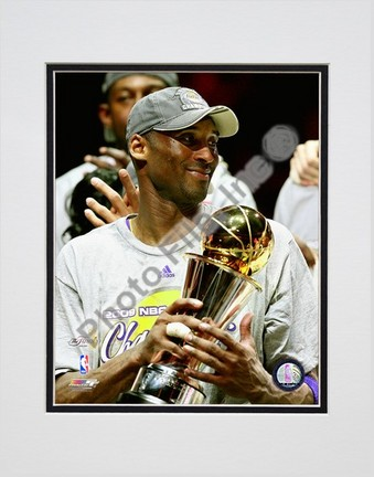 """Kobe Bryant """"Game Five of the 2009 NBA Finals with MVP Trophy (#32)"""" Double Matted 8"""" x 10"""" Photogra"""