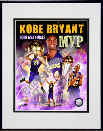 """Kobe Bryant """"2009 Finals MVP Comp. #34"""" Double Matted 8"""" x 10"""" Photograph in Black Anodized Aluminum Frame"""