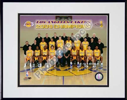 "Los Angeles Lakers ""2009 NBA Champions Team Sit Down Photo #41"" Double Matted 8"" x 10"" Photograph in Black"