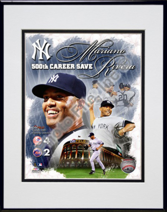 "Mariano Rivera ""500th Save Portrait Plus"" Double Matted 8"" x 10"" Photograph in Black Anodized Aluminum Fra"