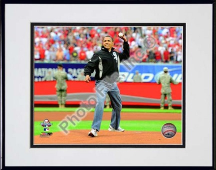 """President Barack Obama throws out the first pitch 2009 MLB All-Star Game #110 Double Matted 8"""" x 10"""" Photograph (Unf"""