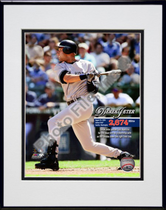 """Derek Jeter """"Most Career Hits by a Shortstop 2009 with Overlay"""" Double Matted 8"""" x 10"""" Photograph in Black"""