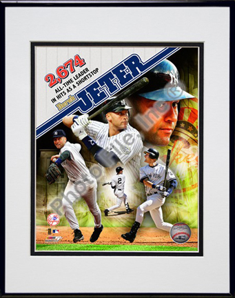 """Derek Jeter """"Most Career Hits by a Shortstop Composite"""" Double Matted 8"""" x 10"""" Photograph (Unframed)"""