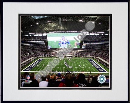 """Cowboys Stadium 2009 Interior Double Matted 8"""" x 10"""" Photograph in Black Anodized Aluminum Frame"""