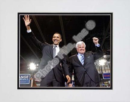 "U.S. Senator Edward Kennedy & Senator Barack Obama at a 2008 Campaign Rally Double Matted 8"" x 10"" Photograph (U"