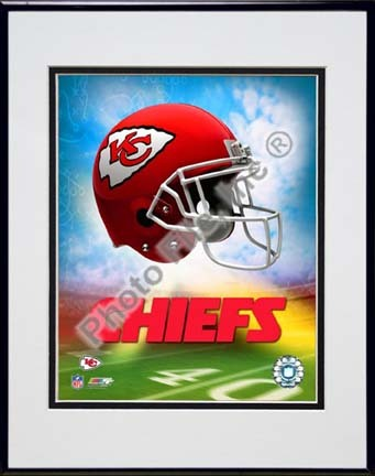 "2009 Kansas City Chiefs Team Logo Double Matted 8"" x 10"" Photograph in Black Anodized Aluminum Frame"