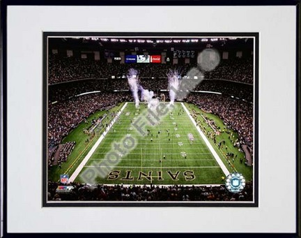"""Superdome 2009 Double Matted 8"""" x 10"""" Photograph in Black Anodized Aluminum Frame"""