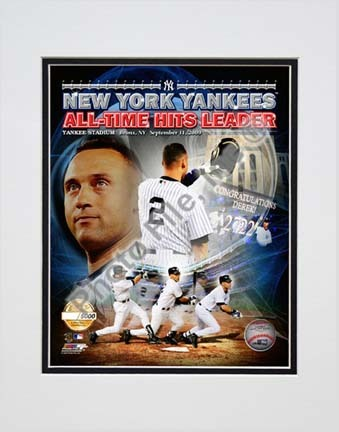 """Derek Jeter """"All-Time Yankee Hit Leader PF Gold Limited Edition"""" Double Matted 8"""" x 10"""" Photograph (Unfram"""