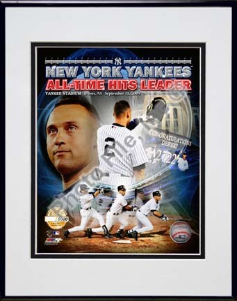 """Derek Jeter """"All-Time Yankee Hit Leader PF Gold Limited Edition"""" Double Matted 8"""" x 10"""" Photograph in Blac"""