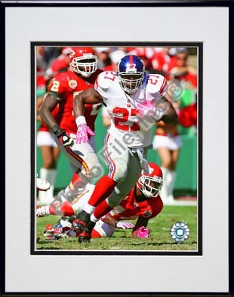 """Brandon Jacobs 2009 Action """"Away"""" Double Matted 8"""" x 10"""" Photograph in Black Anodized Aluminum Frame"""