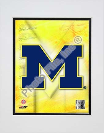"""University of Michigan Wolverines 2009 """"Team Logo"""" Double Matted 8"""" x 10"""" Photograph (Unframed)"""