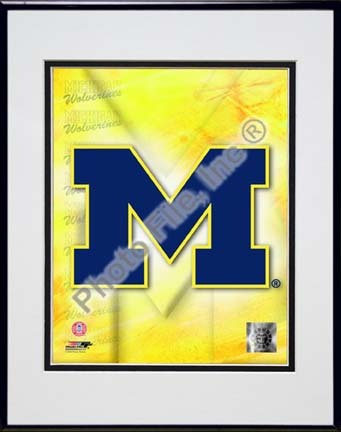 """University of Michigan Wolverines 2009 """"Team Logo"""" Double Matted 8"""" x 10"""" Photograph in Black Anodized Alu"""