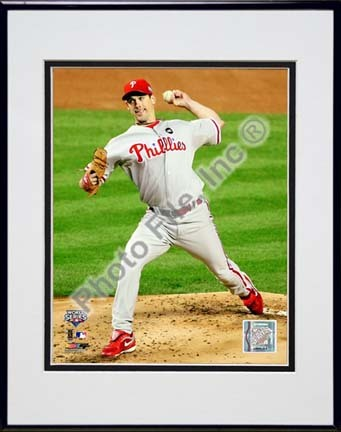 """Cliff Lee Game 1 of the 2009 World Series Action (#3) Double Matted 8"""" x 10"""" Photograph in Black Anodized Aluminum F"""