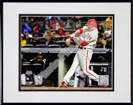 """Chase Utley 6th Inning Home Run Game 1 of the 2009 World Series Action (#4) Double Matted 8"""" x 10"""" Photograph in Bla"""