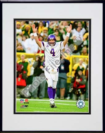 "Brett Favre 2009 Action """"Away Jersey"""" Double Matted 8� x 10� Photograph in Black Anodized Aluminum Frame"" PHF-AALV049-37"