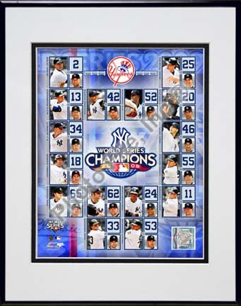 """New York Yankees 2009 World Series Champions Composite Double Matted 8"""" x 10"""" Photograph in Black Anodized Aluminum"""