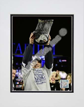 """Joe Girardi with the World Series Trophy Game Six of the 2009 MLB World Series (#37) Double Matted 8"""" x 10"""" Photogra"""
