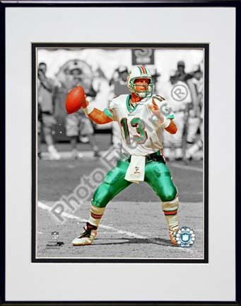 """Dan Marino Spotlight Collection Double Matted 8"""" x 10"""" Photograph in Black Anodized Aluminum Frame"""