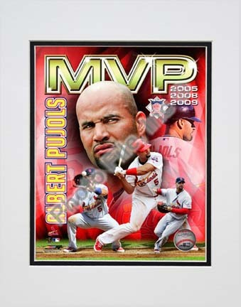 "Sporting Goods Stores Albert Pujols 2009 ""National League MVP Portrait Plus"" Double Matted 8a€ x 10a€ Photograph (Unframed)"