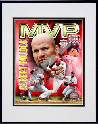 "Sporting Goods Stores Albert Pujols 2009 ""National League MVP Portrait Plus"" Double Matted 8†x 10†Photograph in Black Anodized Aluminum Frame"