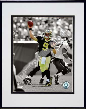 """Drew Brees 2009 Spotlight Action Double Matted 8"""" x 10"""" Photograph in Black Anodized Aluminum Frame"""