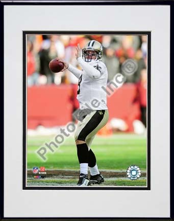 "Drew Brees 2009 Action ""Away Jersey Throw"" Double Matted 8"" x 10"" Photograph in Black Anodized Aluminum Fr"
