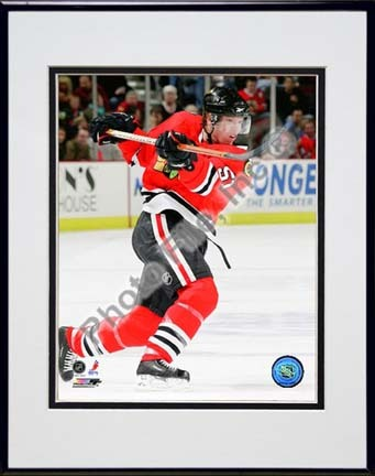 """Brian Campbell 2009 - 2010 Action  """"Home Jersey"""" Double Matted 8"""" x 10"""" Photograph in Black Anodized Alumi"""