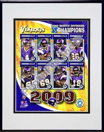 "Minnesota Vikings 2009 NFC West Divison Champions Composite Double Matted 8"" x 10"" Photograph in Black Anodized Alum"