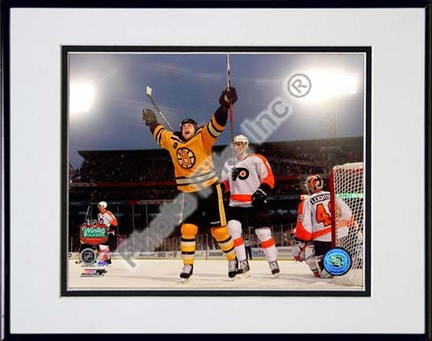 "Marco Sturm Game Winning Goal Horizontal 2010 NHL Winter Classic Double Matted 8"" x 10"" Photograph in Black Anodized"