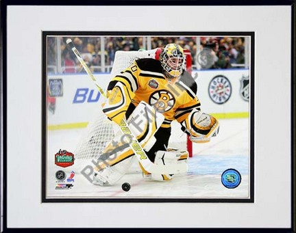 "Tim Thomas 2010 NHL Winter Classic Action Double Matted 8"" x 10"" Photograph in Black Anodized Aluminum Frame"