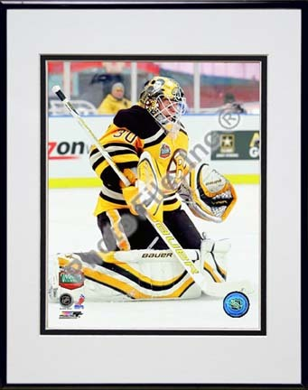 """Tim Thomas 2010 NHL Winter Classic Action """"Defend"""" Double Matted 8"""" x 10"""" Photograph in Black Anodized Alu"""