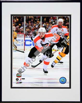 """Danny Briere 2010 NHL Winter Classic Action Double Matted 8"""" x 10"""" Photograph in Black Anodized Aluminum Frame"""