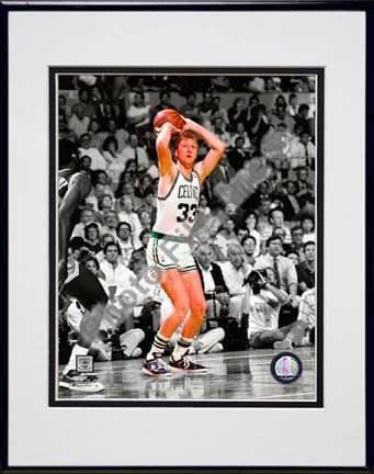 "Larry Bird Spotlight Action Double Matted 8"" x 10"" Photograph in Black Anodized Aluminum Frame"