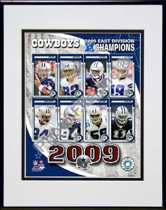 """Dallas Cowboys 2009 NFC East Division Champions Composite Double Matted 8"""" x 10"""" Photograph in Black Anodized Alumin"""